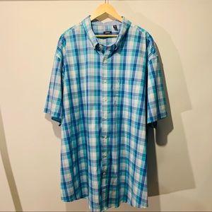 Izod Men's Short Sleeve Plaid Button Down 4XL